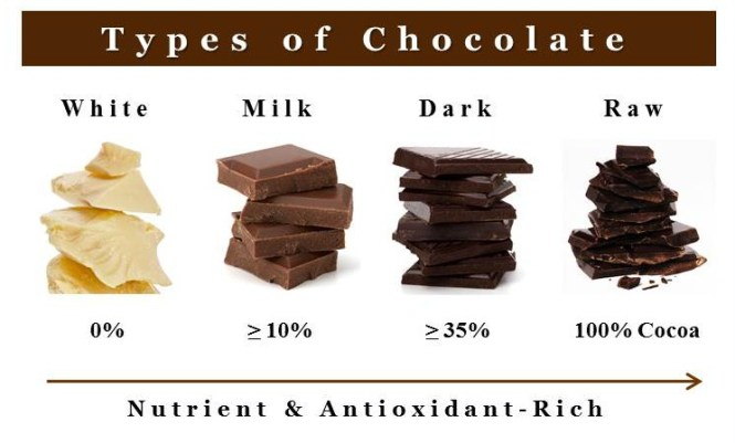 chocolate types and nutrients